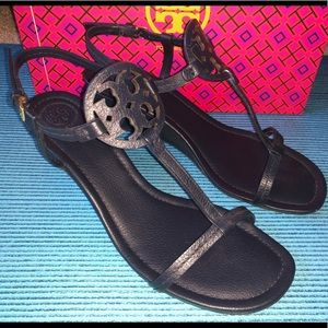 Tory Burch Miller T-Strap Wedge Sandals Navy US 9
